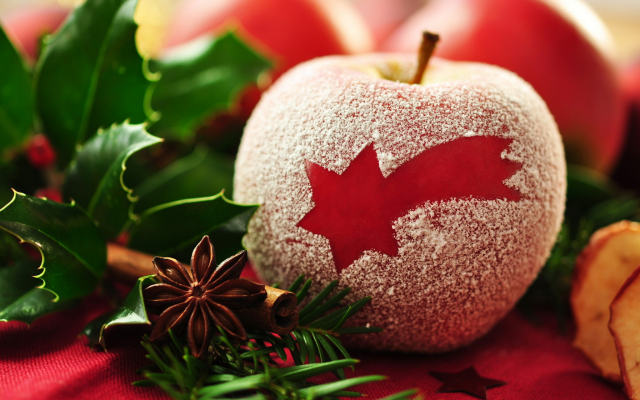 2048x1360 pix. Wallpaper new year, holidays, apple, star anise, branch, christmas, decorations