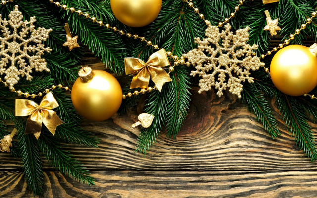 2048x1280 pix. Wallpaper new year, christmas, branches, balls, snowflakes, holidays