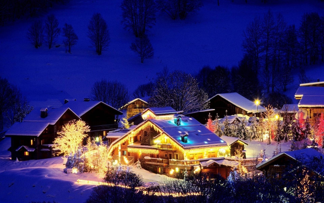 1920x1200 pix. Wallpaper christmas village, mountains, night, house, lights, winter, snow