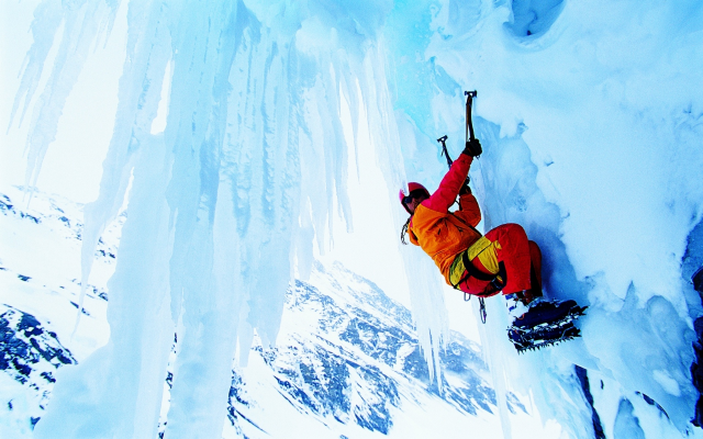 1920x1200 pix. Wallpaper climber, ice, extreme, winter, snow, sport