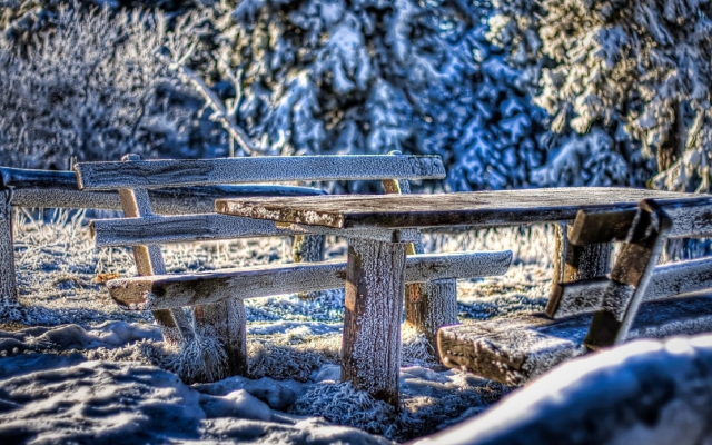 1920x1186 pix. Wallpaper cold, frost, bench, snow, winter