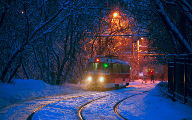 2040x1361 pix. Wallpaper tatra t3, city, evening, tram, snow, winter
