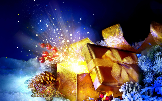 2560x1600 pix. Wallpaper christmas, design, new year, gift, box