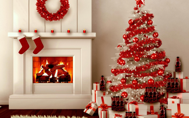2124x1721 pix. Wallpaper fireplace, christmas tree, new year, graphics, christmas