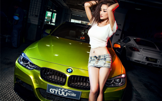 1920x1280 pix. Wallpaper bmw 3-series, asian, girl, women, jeans shorts, cars, brunette, bmw