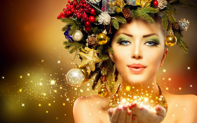 2048x1152 pix. Wallpaper christmas, new year, holidays, girl, women, magic
