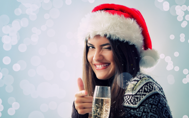 1920x1200 pix. Wallpaper christmas, new year, smile, champagne, glass, holidays, girl, women, brunette