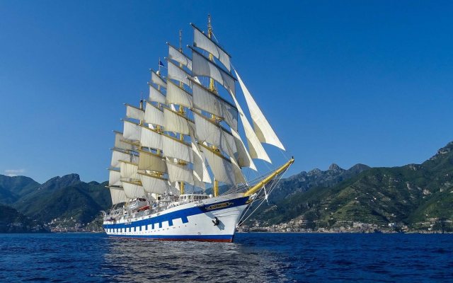 2048x1124 pix. Wallpaper royal clipper, sailboat, ship, sea
