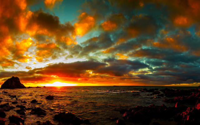 3840x2160 pix. Wallpaper sky, sea, sunset, clouds, nature