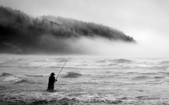 2000x1333 pix. Wallpaper fisherman, fog, waves, extreme sports, fishing, sea, nature, fishing rod