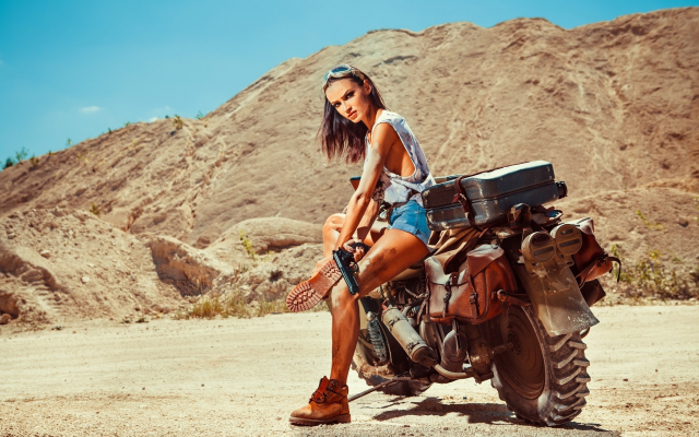 2048x1365 pix. Wallpaper bike, girl, women, gun, weapon, women, motorbike, motorcycle, brunette