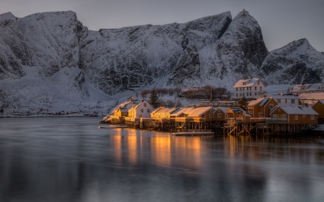 2560x1691 pix. Wallpaper reine, village, lofoten, norway, rocks, twilight, sea, bay, winter, mountains, snow