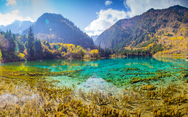 4300x2251 pix. Wallpaper jiuzhaigou, china, mountains, lake, forest, autumn, landscape, park, nature