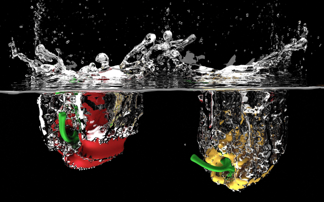 3840x2160 pix. Wallpaper fruits, water, drops, water splashes, sweet pepper, bell pepper