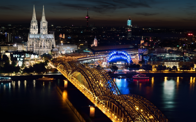 6003x4002 pix. Wallpaper cologne, germany, cologne cathedral, architecture, river, rhine, city, building, cityscape, lights, night, bridge, city