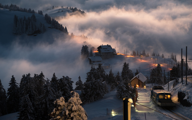 1920x1200 pix. Wallpaper landscape, nature, Switzerland, sunset, snow, village, train, mist, trees, winter, lights, hill