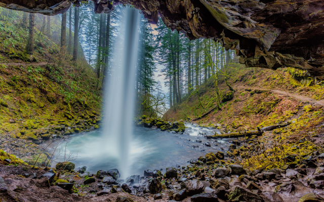 5471x3647 pix. Wallpaper columbia, oregon, river gorge, waterfall, forest, tree, rocks, landscape, nature