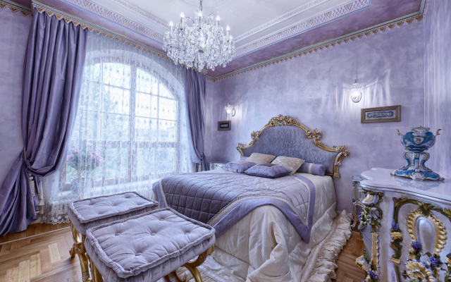 7360x4912 pix. Wallpaper interior, bedroom, bed, window, chandelier, curtains