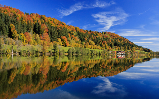 2048x1365 pix. Wallpaper reflection, germany, tree, leave, lake, sky, bavaria, autumn, forest