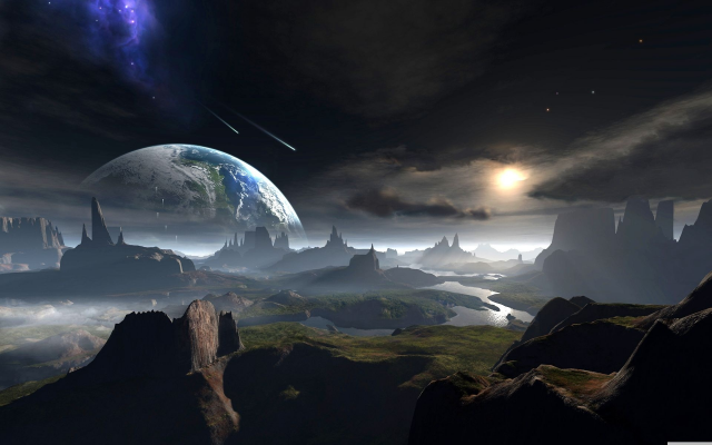 1920x1200 pix. Wallpaper planet, meteors, surface, art, space, graphics, 3d