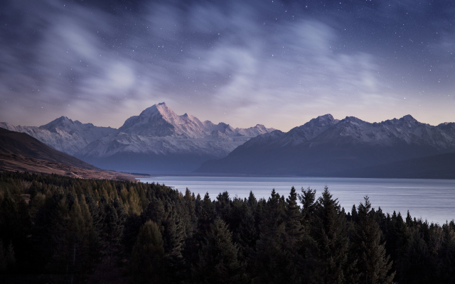 1920x1200 pix. Wallpaper nature, trees, forest, landscape, mountain, evening, water, lake, snow, snowy peak, stars, clouds, p