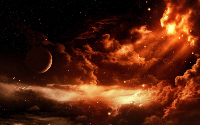 1920x1080 pix. Wallpaper space, digital art, moon, clouds, graphics, stars