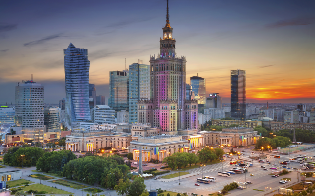 5616x3744 pix. Wallpaper palace of culture and science, warsaw, poland, sunset, city, skyscrapers