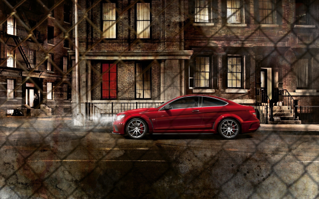 2560x1600 pix. Wallpaper mercedes-benz c63, mercedes, fence, city, night, street