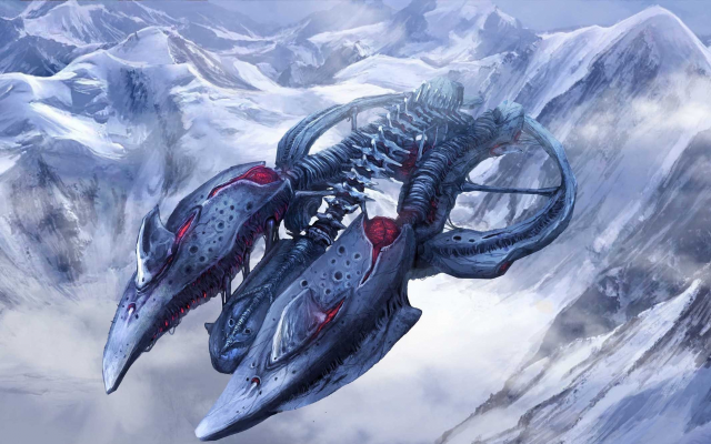 2548x1330 pix. Wallpaper science fiction, artwork, spaceship, mountains, winter, snow