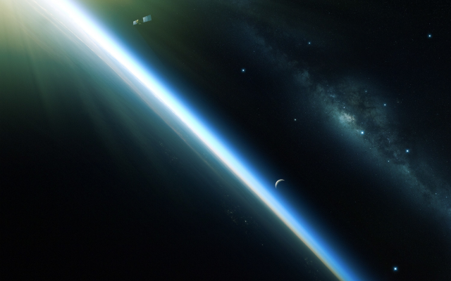 3000x1970 pix. Wallpaper planet, orbit, satellite, galaxy, space