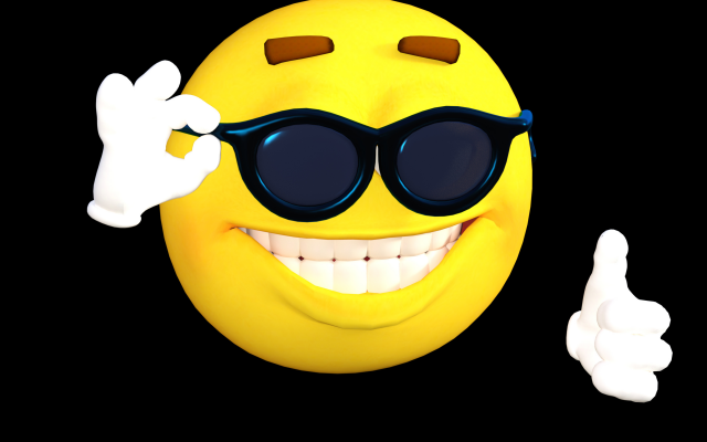 3000x2000 pix. Wallpaper smiley, smile, sunglasses, 3d graphics