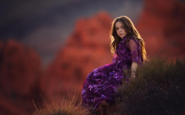 1920x1080 pix. Wallpaper purple, nature, girl, long hairs, kid, dress