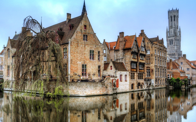 2048x1315 pix. Wallpaper bruges, city, belgium, canal, home, reflection