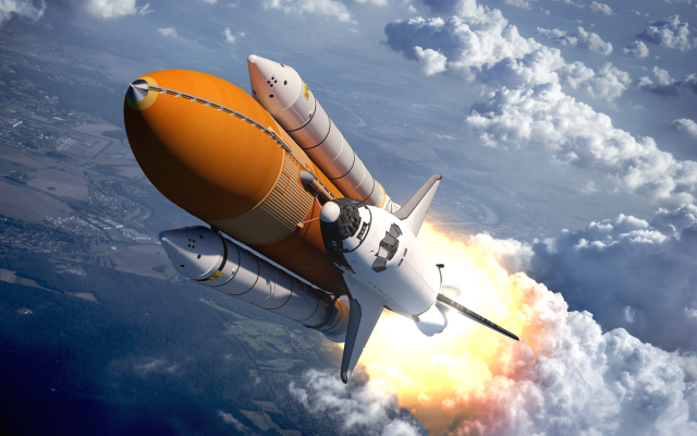 6000x4000 pix. Wallpaper shuttle, flight, clouds, art, graphics, sally rides space shuttle, space shuttle