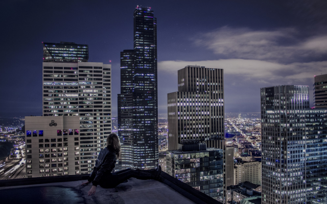 2048x1242 pix. Wallpaper architecture, cityscape, city, skyscraper, clouds, modern, night, lights, rooftops, women, model, bl