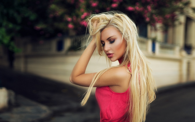 2048x1125 pix. Wallpaper montse roura, women, blonde, red dress, cute, outdoor