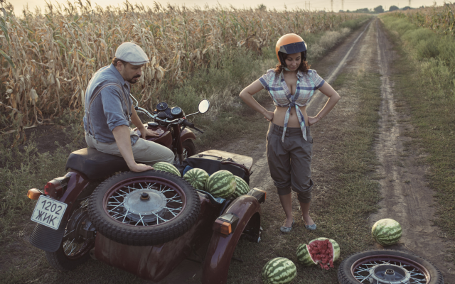 1961x1500 pix. Wallpaper field, road, situation, motorcycle, crash, girl, watermelon, women, busty