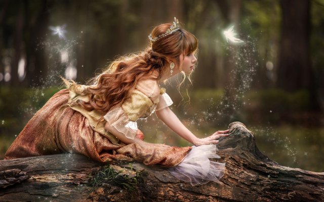 2048x1365 pix. Wallpaper forest, girl, fairy tale, crown, redhead, log, curls, women