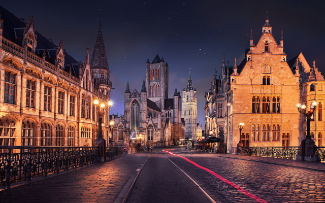 2048x1365 pix. Wallpaper Ghent, Belgium, city, old building, architecture, night, starry night