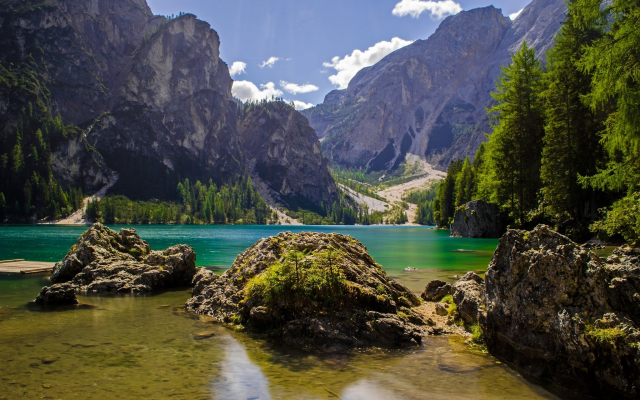 2048x1289 pix. Wallpaper pragser wildsee, lake, italy, mountains, nature