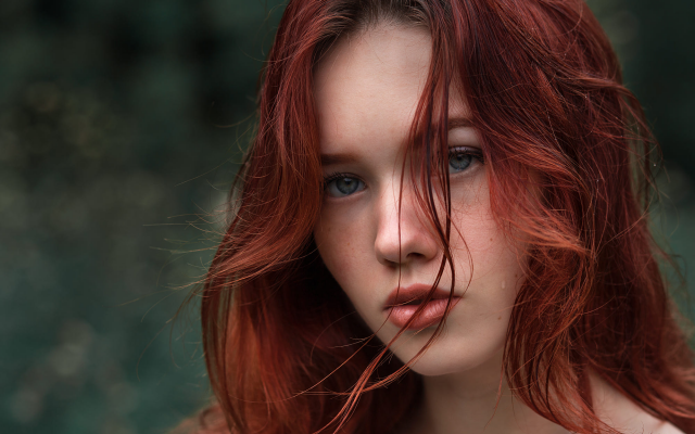 2000x1333 pix. Wallpaper redhead, face, blue eyes, hair in face, portrait, women