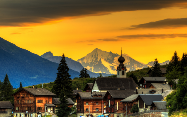 2704x1800 pix. Wallpaper blitzingen, switzerland, town, sky, mountains, house, sunset