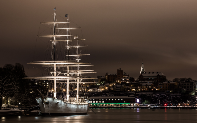 5248x3528 pix. Wallpaper sailing ship, water, city, stockholm, ship, sweden, night