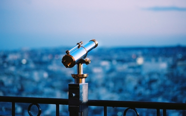 1920x1200 pix. Wallpaper telescope, binoculars, city, depth of field, night, evening
