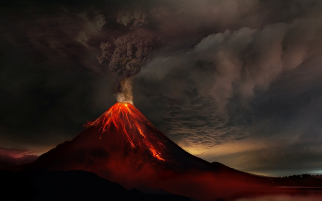 1988x1125 pix. Wallpaper volcanic eruption, volcano, lava, dark clouds, eruption