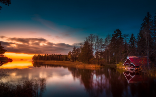 1920x1082 pix. Wallpaper finland, lake, reflection, sunset, nature