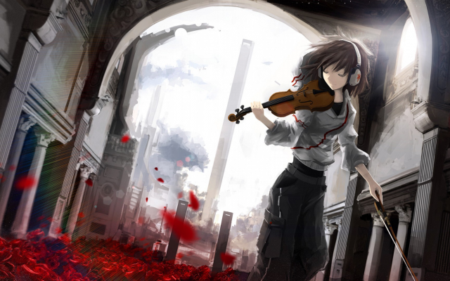 1920x1080 pix. Wallpaper anime, anime girls, violin, violin girl, headphones, rose, leaves, building, architecture