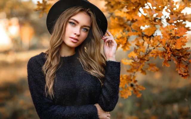 2048x1365 pix. Wallpaper women, portrait, olga boyko, hat, brunette, sweater, autumn
