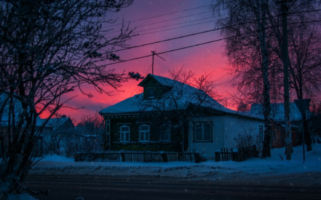 1920x1282 pix. Wallpaper house, trees, nature, sky, sunset, village, russia, snow, winter