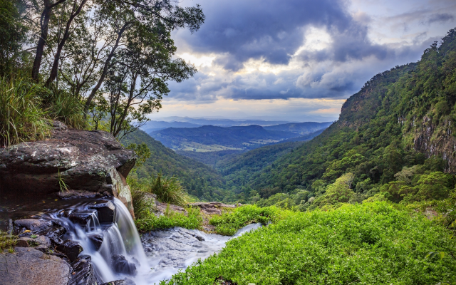 2048x1313 pix. Wallpaper morans falls, gondwana rainforests, queensland, australia, nature, sky, clouds, hill, grass, stones, summer, landscape